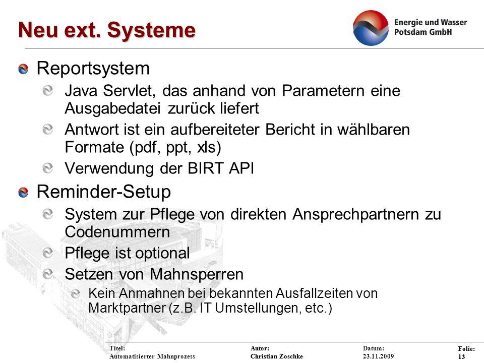 Neu ext. Systeme Reportsystem Reminder-Setup