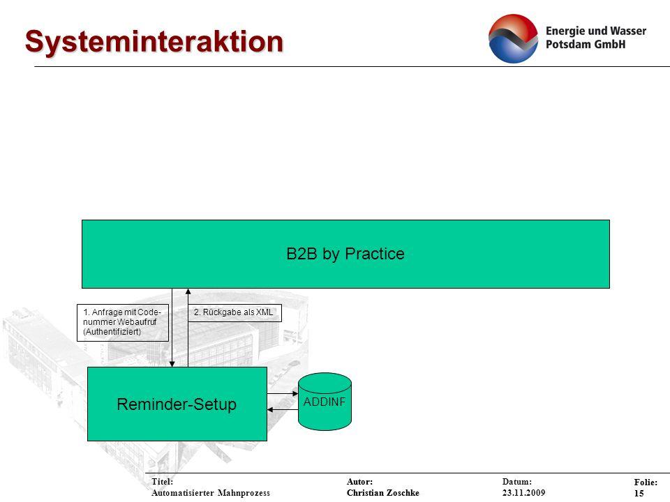 Systeminteraktion B2B by Practice Reminder-Setup ADDINF Titel: