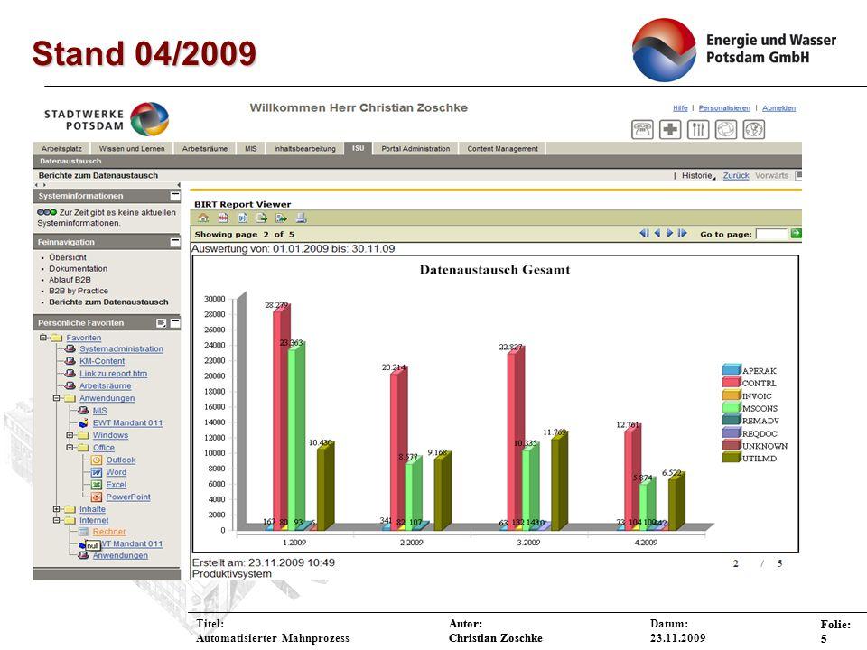 Stand 04/2009 Titel: Automatisierter Mahnprozess Datum: 23.11.2009