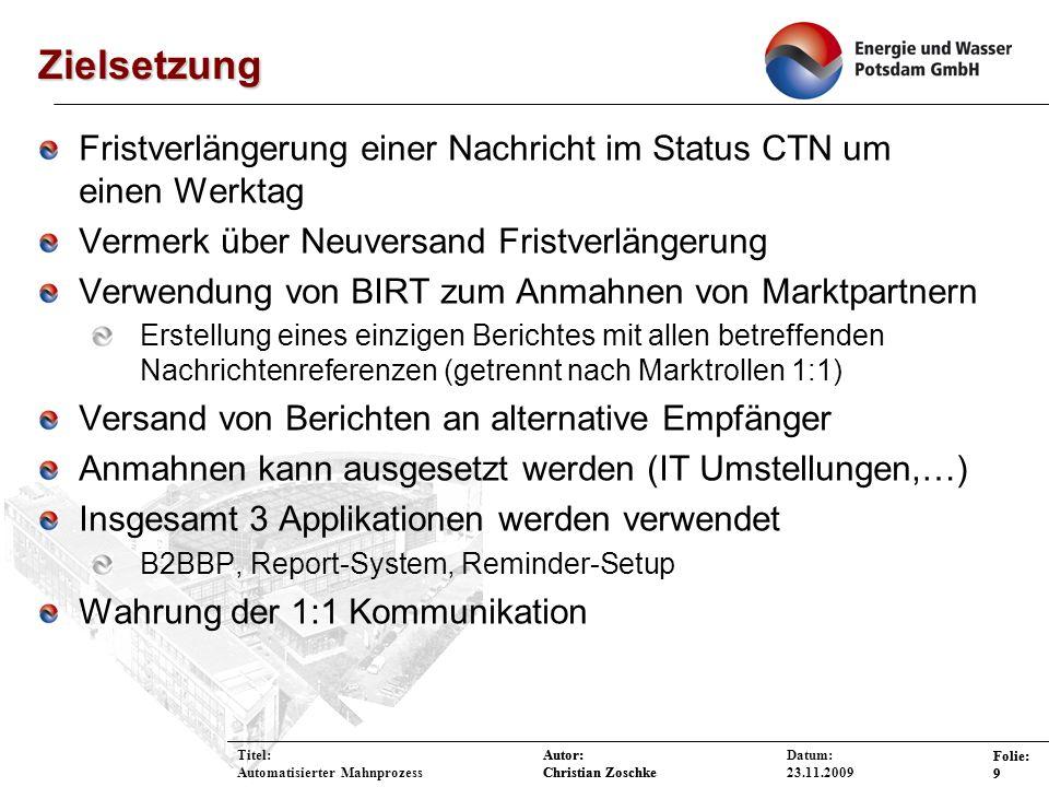 ZielsetzungFristverlängerung einer Nachricht im Status CTN um einen Werktag. Vermerk über Neuversand Fristverlängerung.