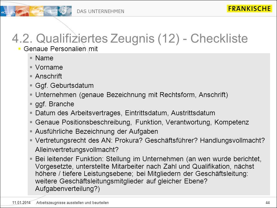 4.2. Qualifiziertes Zeugnis (12) - Checkliste