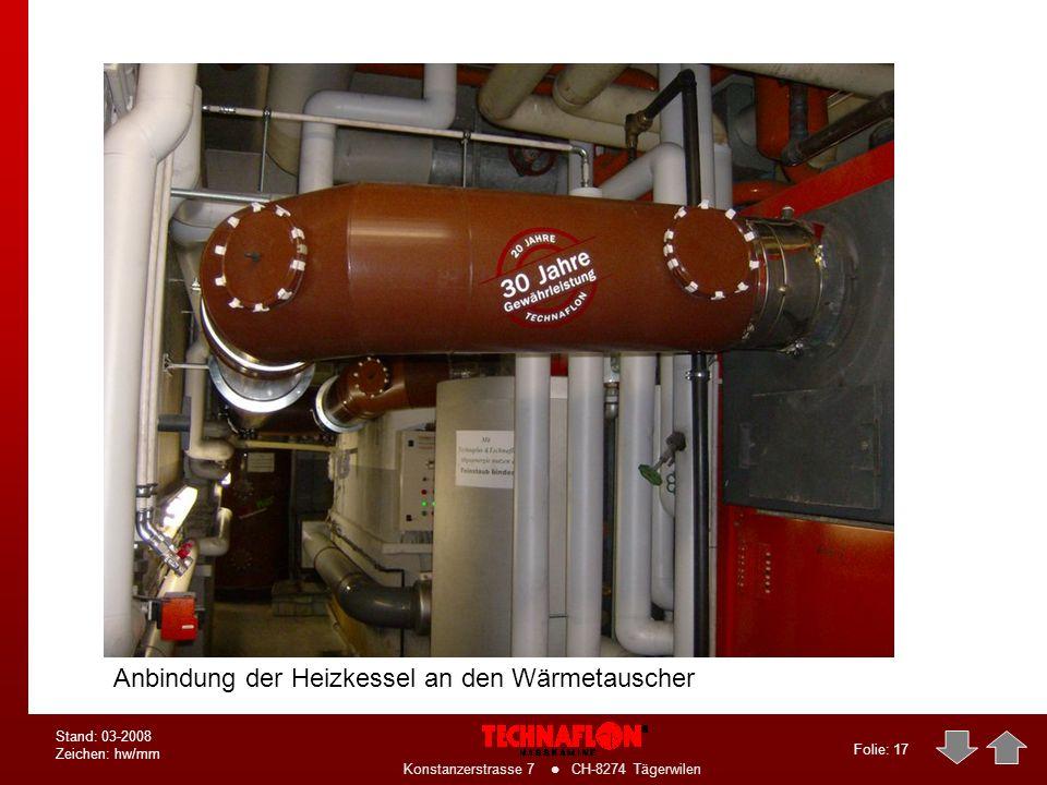 Anbindung der Heizkessel an den Wärmetauscher