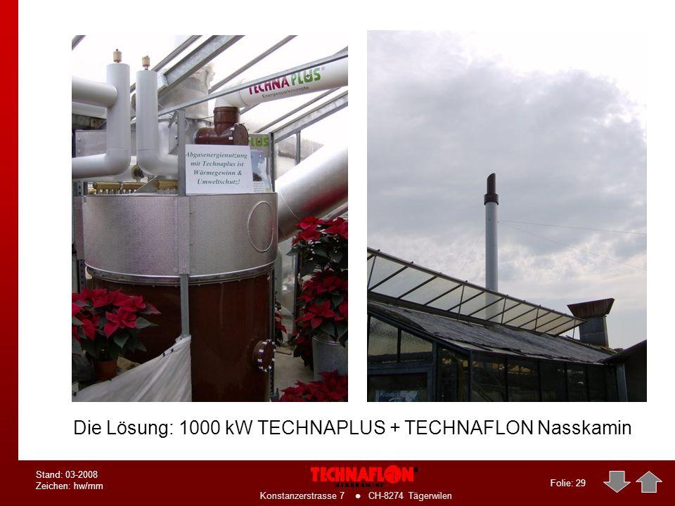 Die Lösung: 1000 kW TECHNAPLUS + TECHNAFLON Nasskamin