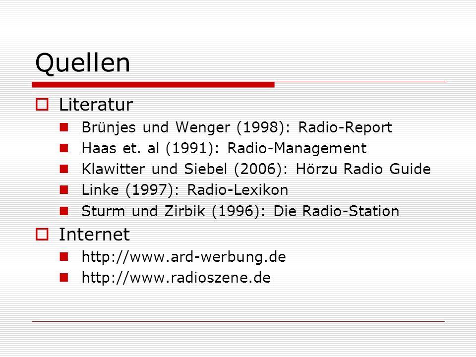 Quellen Literatur Internet Brünjes und Wenger (1998): Radio-Report