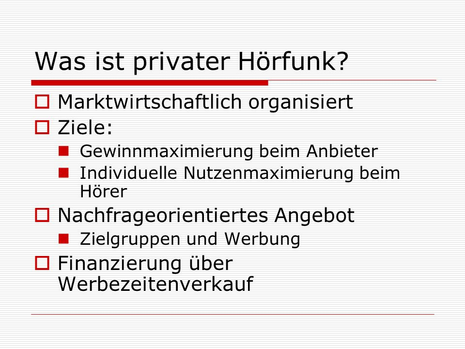 Was ist privater Hörfunk