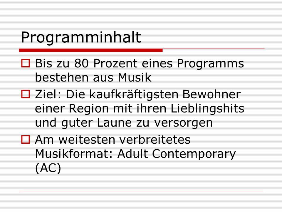 Programminhalt Bis zu 80 Prozent eines Programms bestehen aus Musik