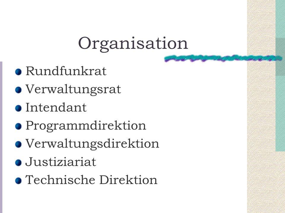 Organisation Rundfunkrat Verwaltungsrat Intendant Programmdirektion