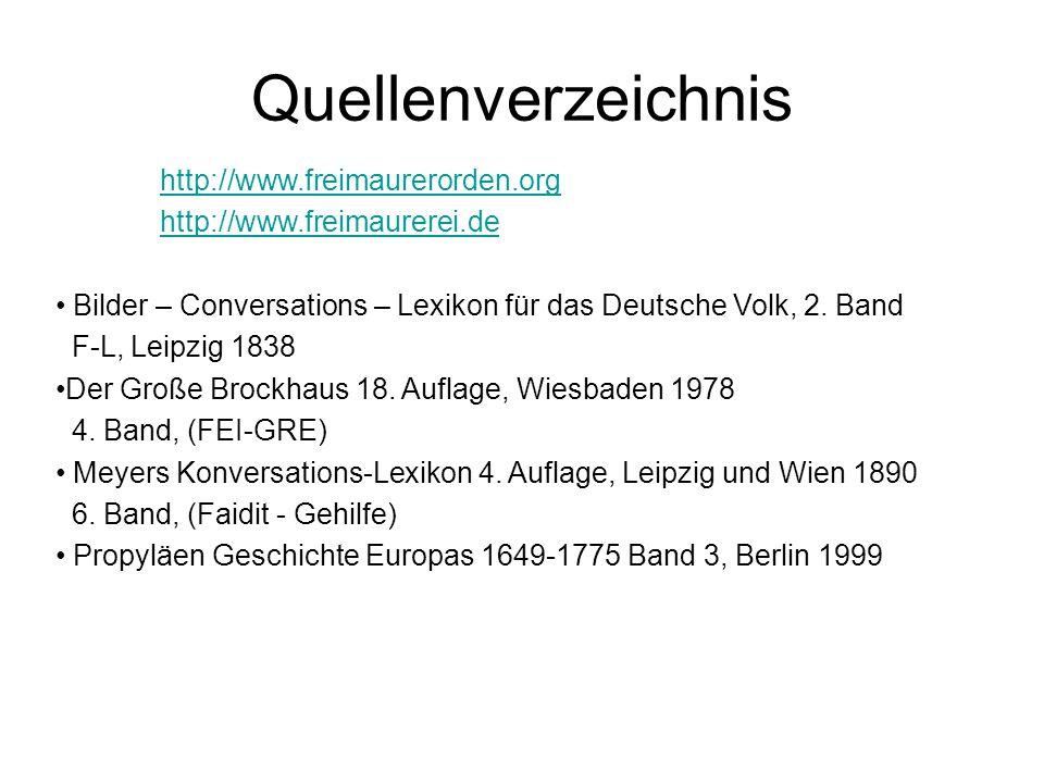 Quellenverzeichnis http://www.freimaurerorden.org