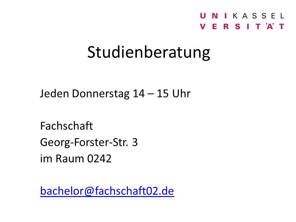 Studienberatung Jeden Donnerstag 14 – 15 Uhr Fachschaft