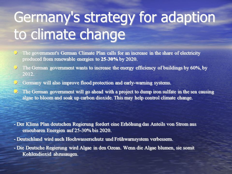 Germany s strategy for adaption to climate change