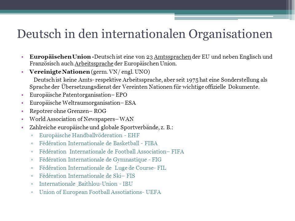 Deutsch in den internationalen Organisationen