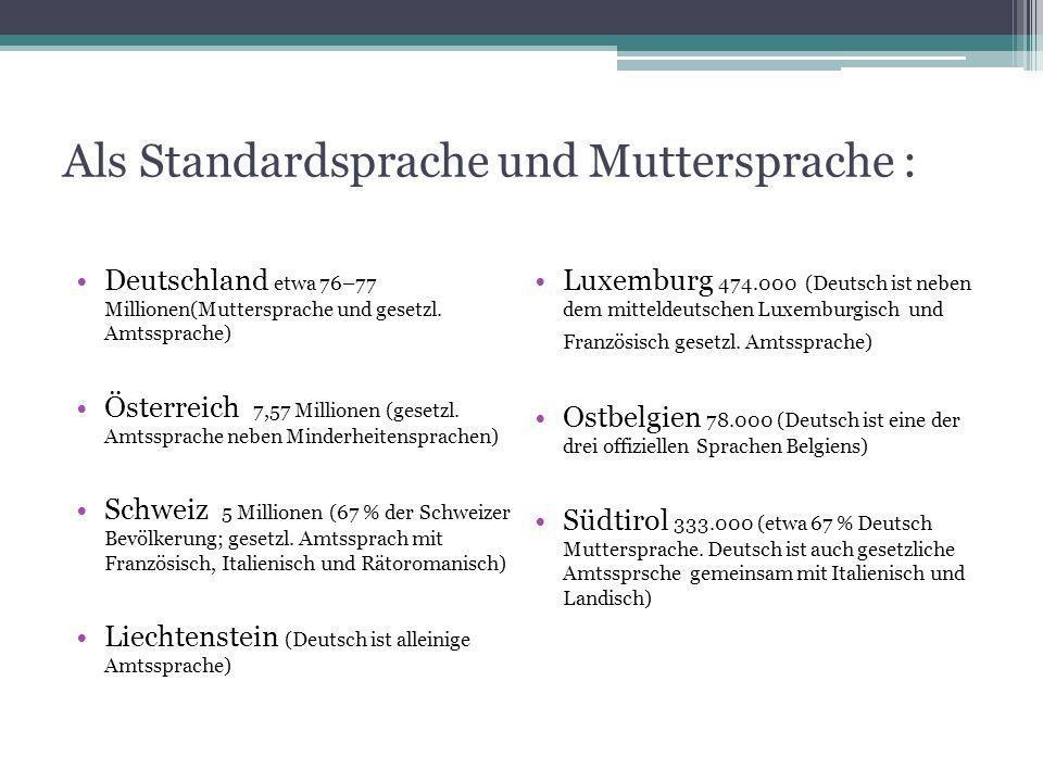 Als Standardsprache und Muttersprache :