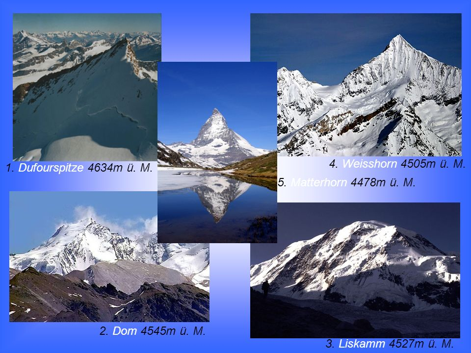 4. Weisshorn 4505m ü. M. 1. Dufourspitze 4634m ü. M. 5. Matterhorn 4478m ü. M. 2. Dom 4545m ü. M.