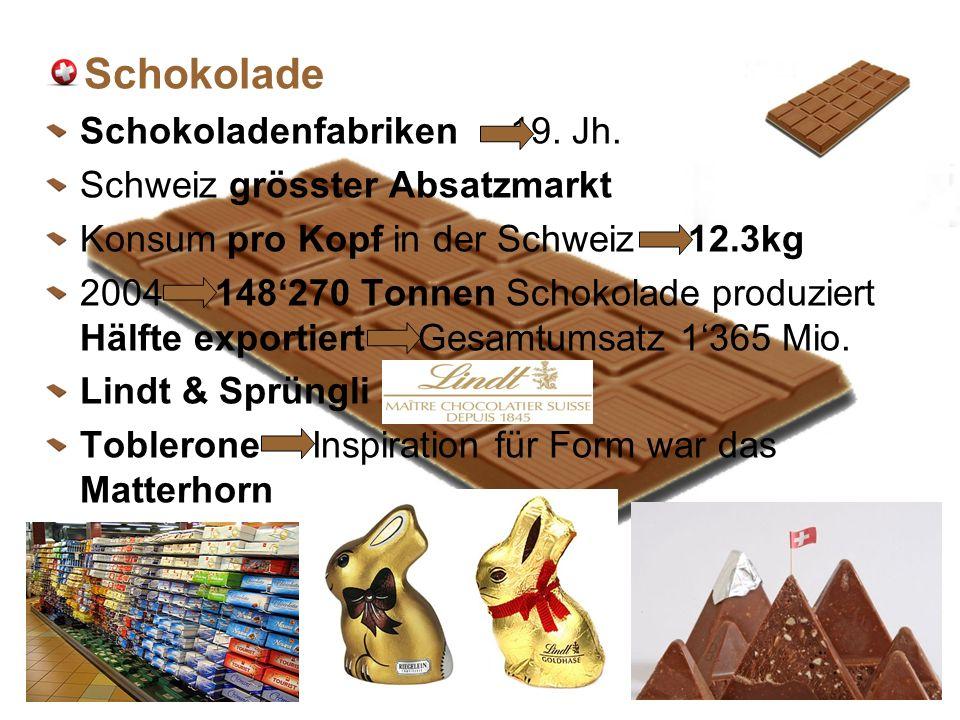 Schokolade Schokoladenfabriken 19. Jh. Schweiz grösster Absatzmarkt
