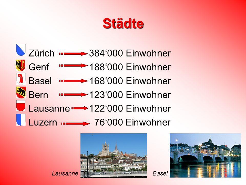 Städte Zürich 384'000 Einwohner Genf 188'000 Einwohner