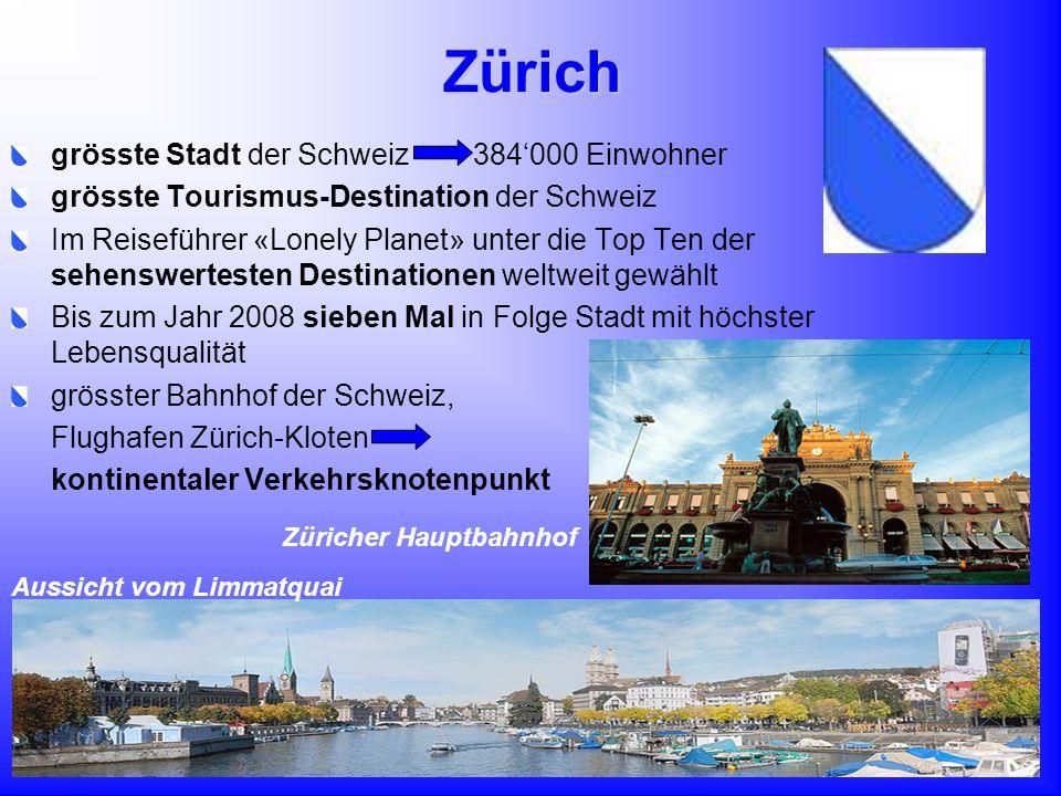 Zürich grösste Stadt der Schweiz 384'000 Einwohner