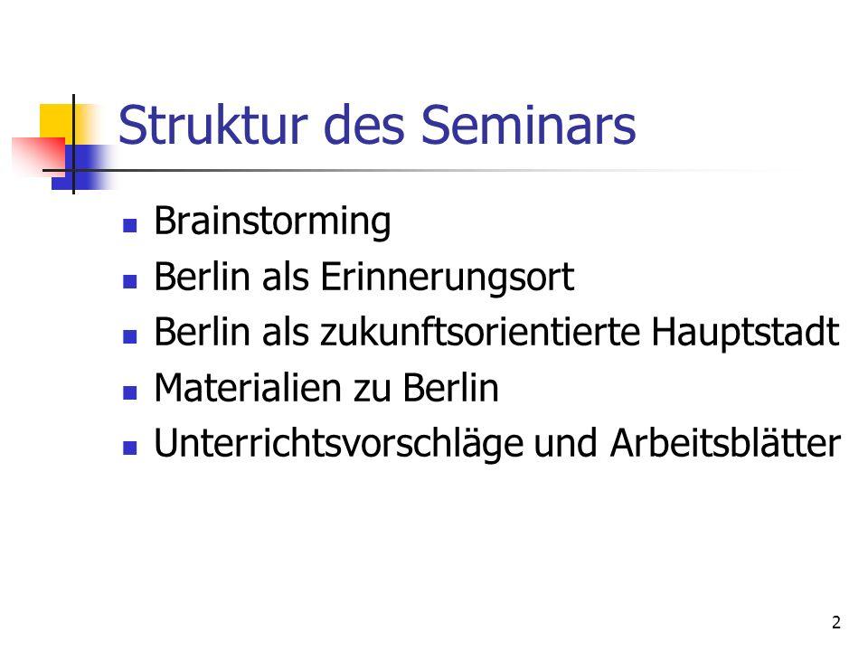 Struktur des Seminars Brainstorming Berlin als Erinnerungsort