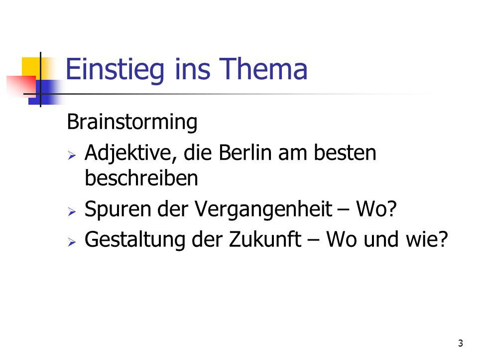 Einstieg ins Thema Brainstorming