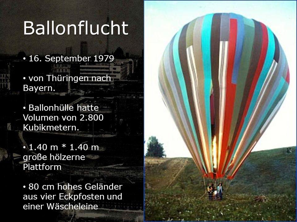 Ballonflucht 16. September 1979 von Thüringen nach Bayern.
