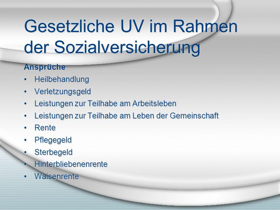 Gesetzliche UV im Rahmen der Sozialversicherung