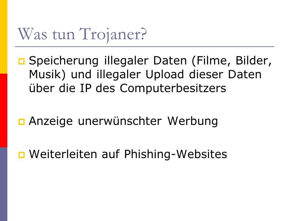 Was tun Trojaner Speicherung illegaler Daten (Filme, Bilder, Musik) und illegaler Upload dieser Daten über die IP des Computerbesitzers.