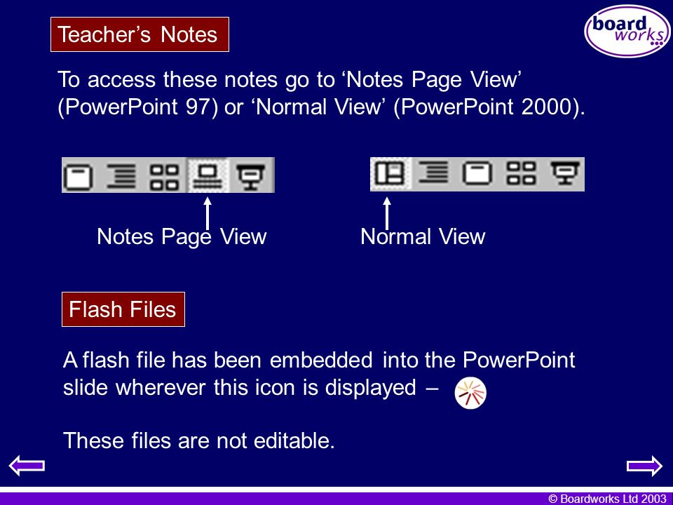 Teacher's Notes To access these notes go to 'Notes Page View' (PowerPoint 97) or 'Normal View' (PowerPoint 2000).