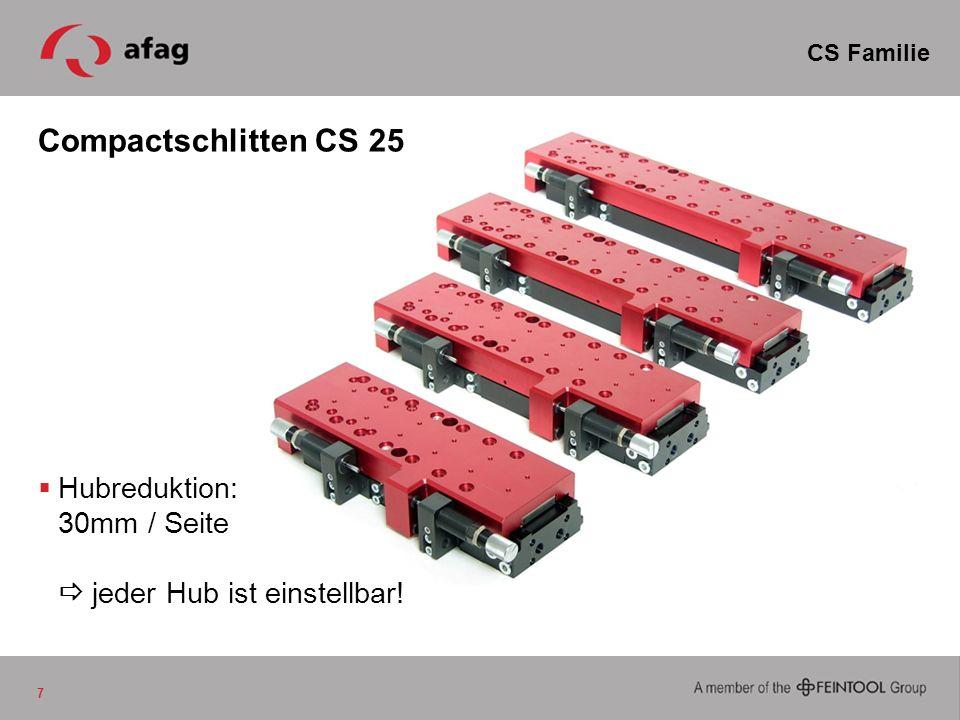 CS Familie Compactschlitten CS 25 Hubreduktion: 30mm / Seite  jeder Hub ist einstellbar!
