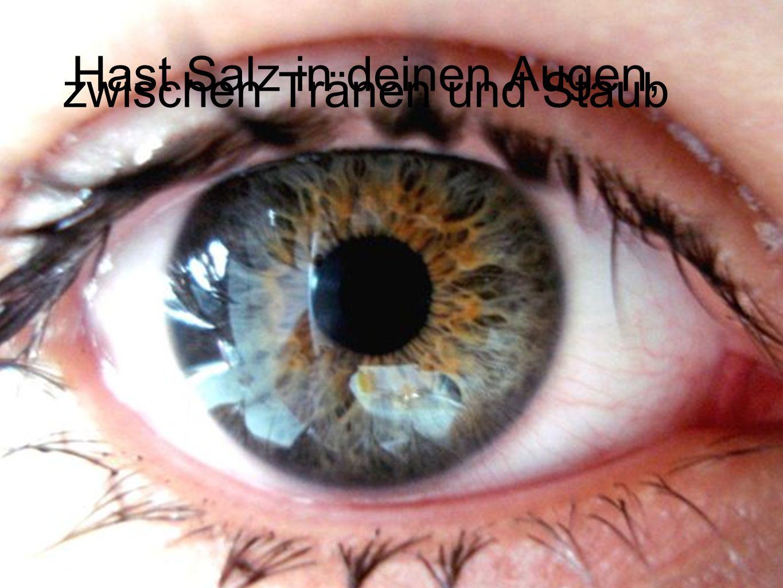 Hast Salz in deinen Augen, zwischen Tränen und Staub