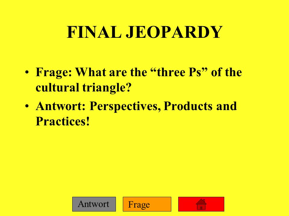 FINAL JEOPARDY Frage: What are the three Ps of the cultural triangle.