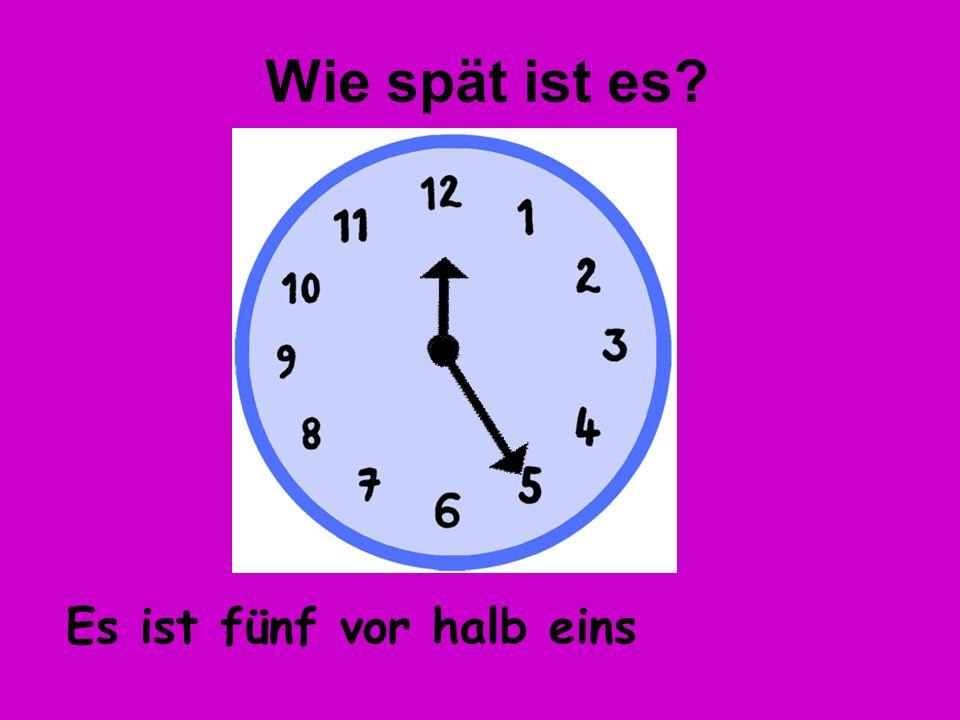 Wie spät ist es Es ist fünf vor halb eins