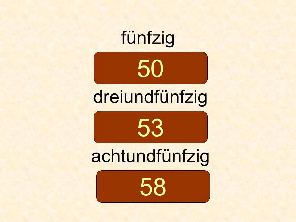 fünfzig 50 dreiundfünfzig 53 achtundfünfzig 58