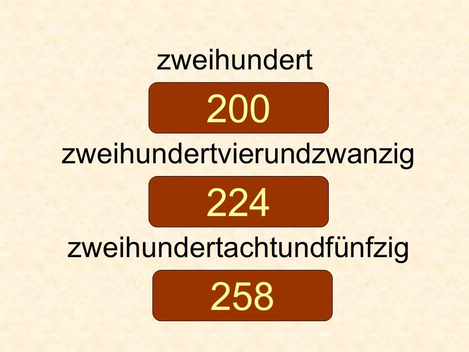 200 224 258 zweihundert zweihundertvierundzwanzig