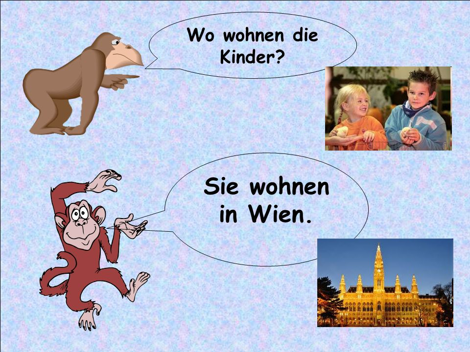 Wo wohnen die Kinder Sie wohnen in Wien.