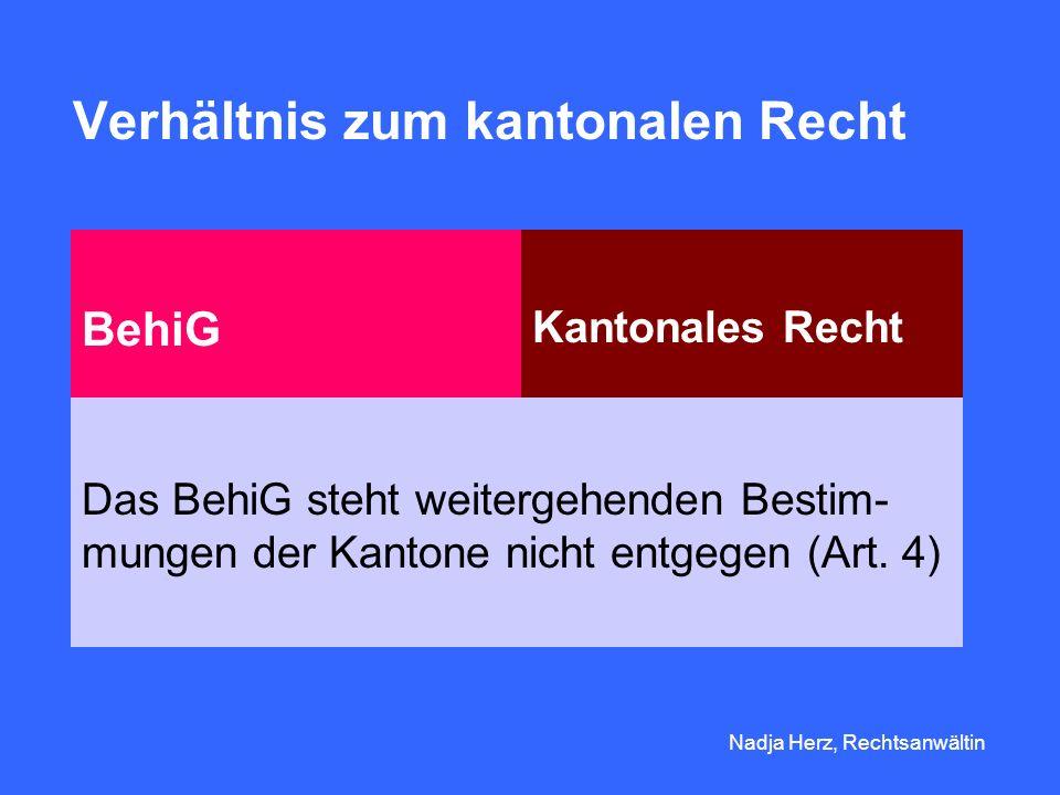Verhältnis zum kantonalen Recht