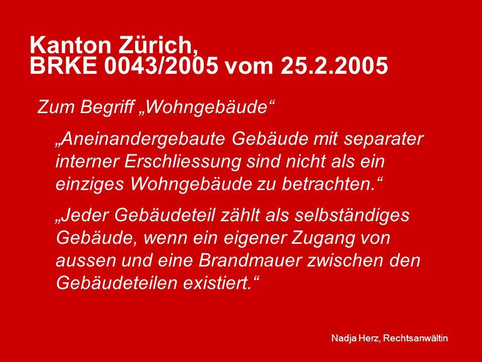 Kanton Zürich, BRKE 0043/2005 vom 25.2.2005