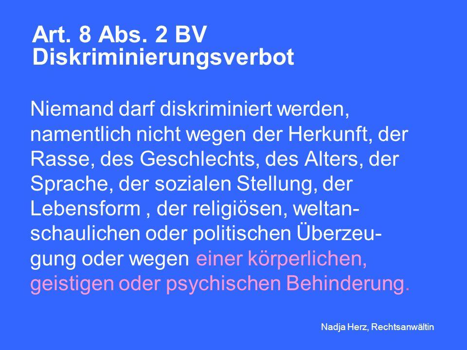 Art. 8 Abs. 2 BV Diskriminierungsverbot