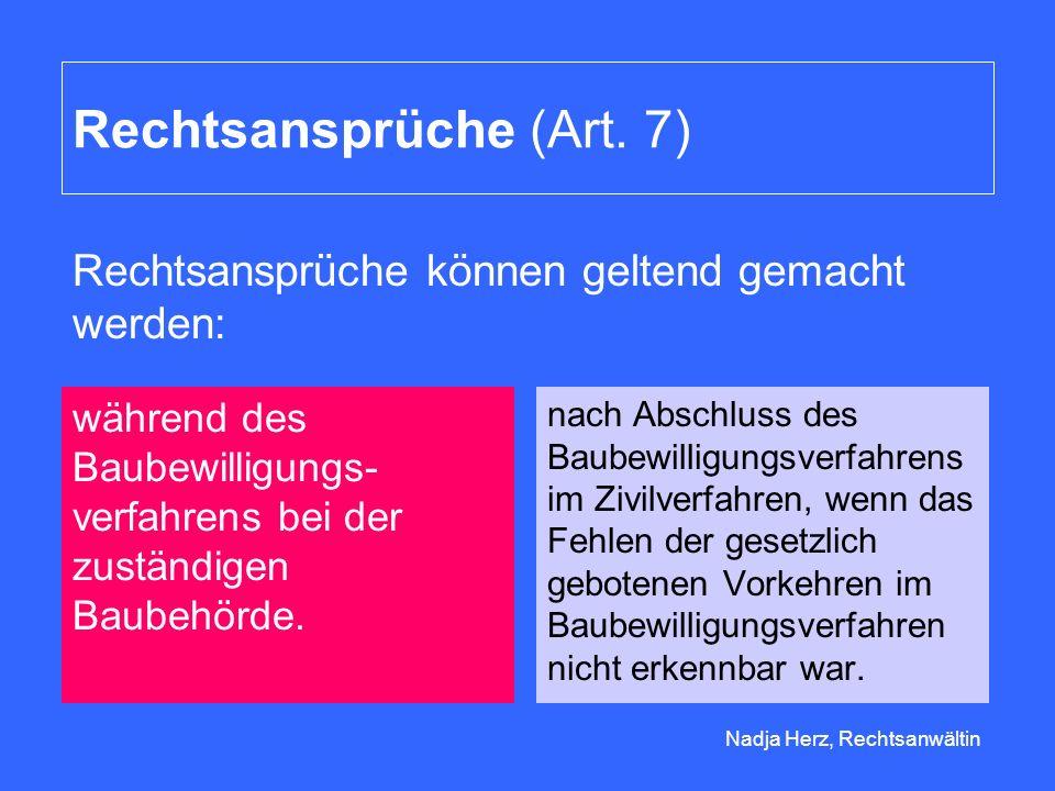 Rechtsansprüche (Art. 7)