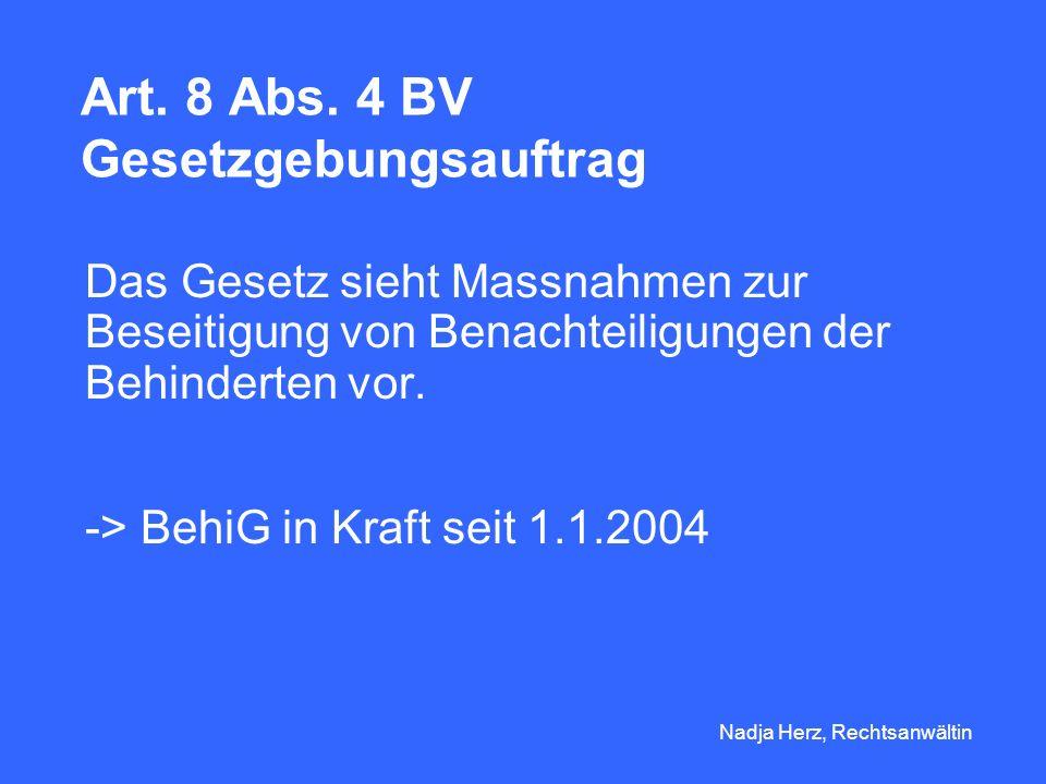 Art. 8 Abs. 4 BV Gesetzgebungsauftrag