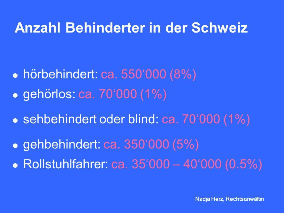 Anzahl Behinderter in der Schweiz