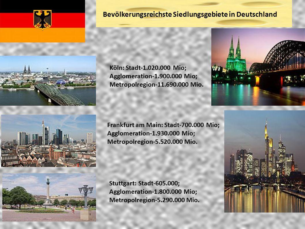 Bevölkerungsreichste Siedlungsgebiete in Deutschland