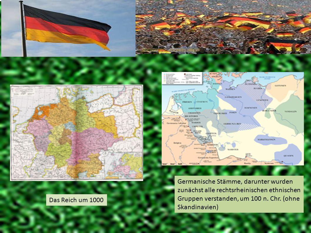 Germanische Stämme, darunter wurden zunächst alle rechtsrheinischen ethnischen Gruppen verstanden, um 100 n. Chr. (ohne Skandinavien)