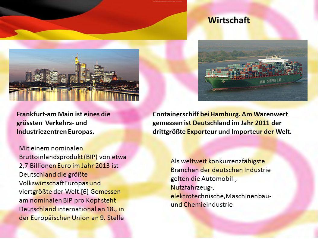 Wirtschaft Frankfurt-am Main ist eines die grössten Verkehrs- und Industriezentren Europas.