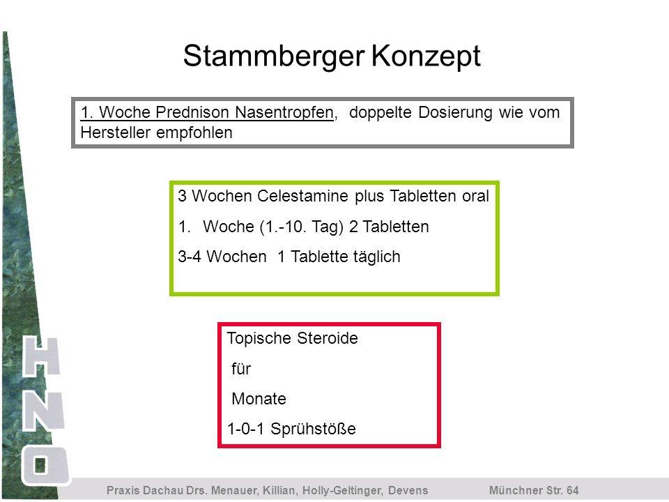 Stammberger Konzept 1. Woche Prednison Nasentropfen, doppelte Dosierung wie vom Hersteller empfohlen.