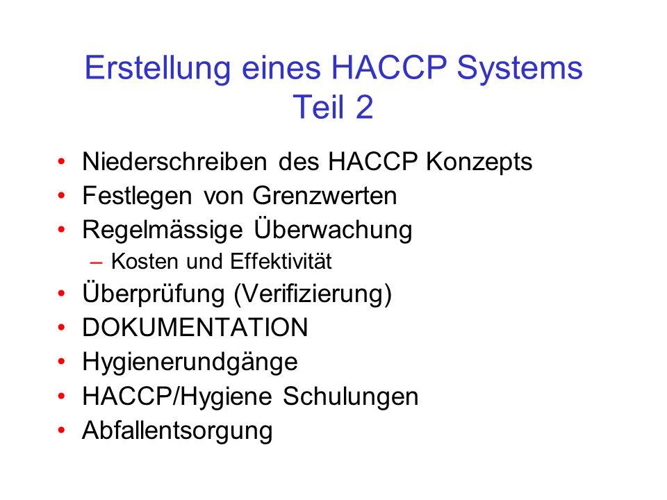 Erstellung eines HACCP Systems Teil 2