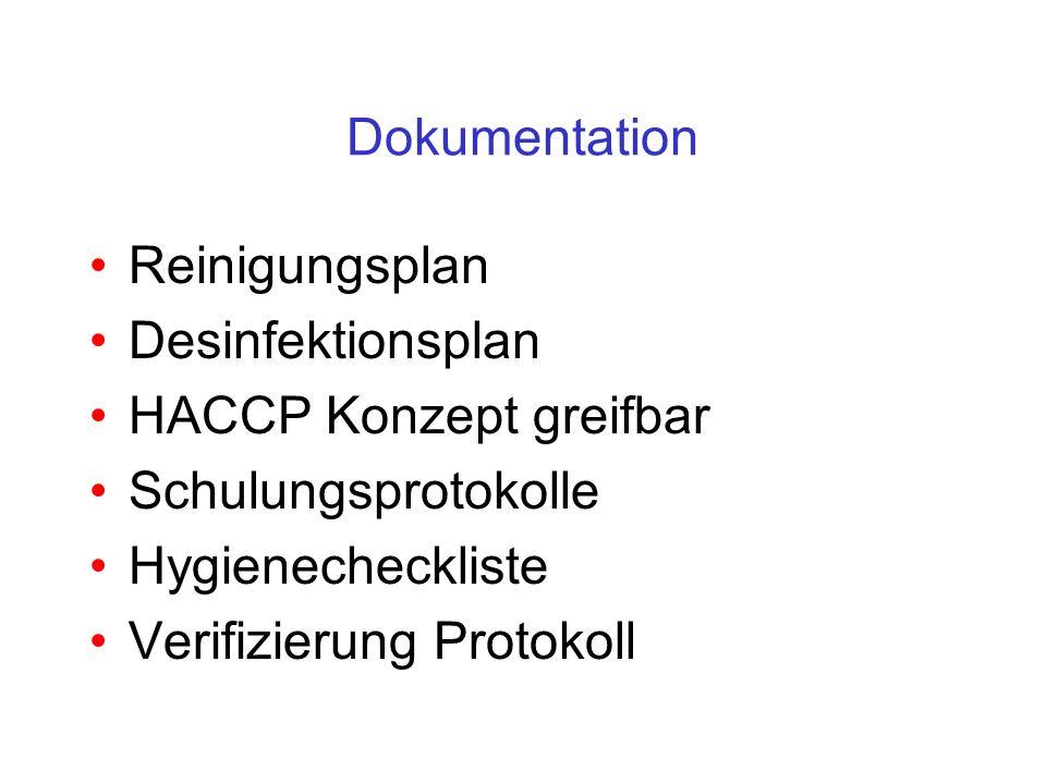 Dokumentation Reinigungsplan. Desinfektionsplan. HACCP Konzept greifbar. Schulungsprotokolle. Hygienecheckliste.