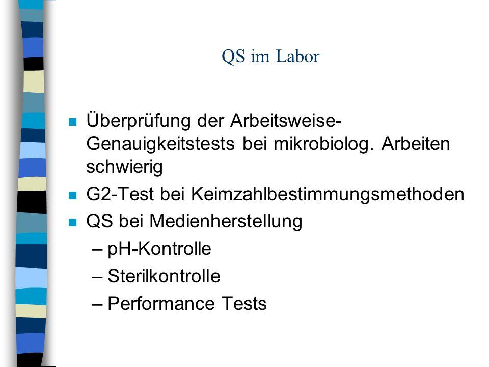 QS im Labor Überprüfung der Arbeitsweise-Genauigkeitstests bei mikrobiolog. Arbeiten schwierig. G2-Test bei Keimzahlbestimmungsmethoden.