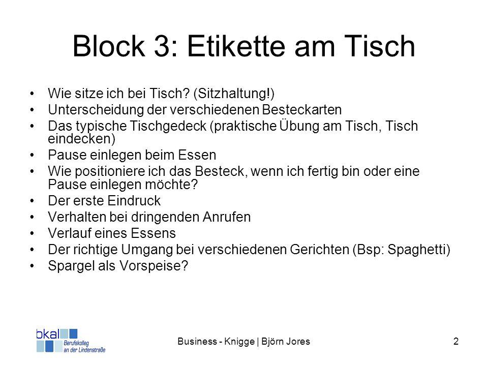 Block 3: Etikette am Tisch