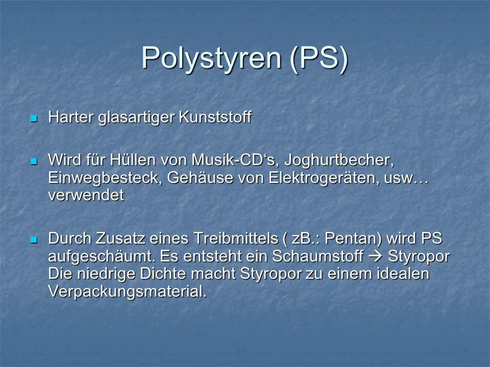 Polystyren (PS) Harter glasartiger Kunststoff