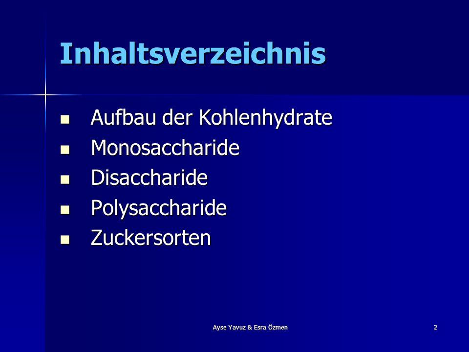 Inhaltsverzeichnis Aufbau der Kohlenhydrate Monosaccharide