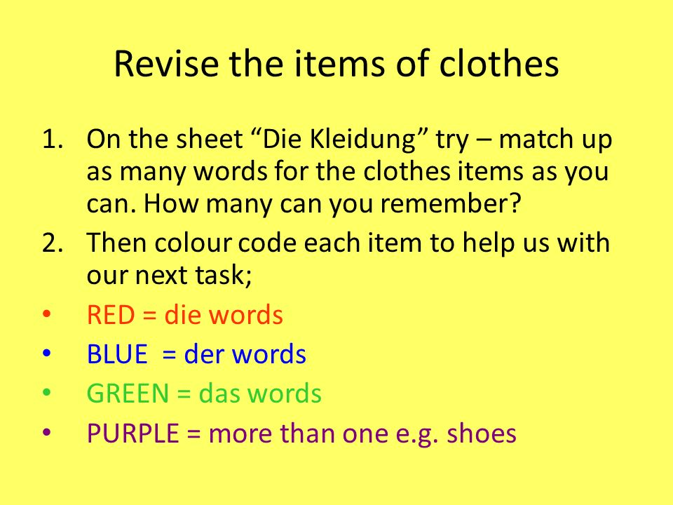 Revise the items of clothes